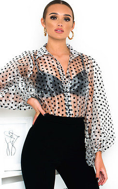 View the Ola Polka Dot Mesh Blouse online at iKrush