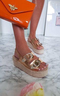 View the Olivia Double Buckle Wedged Sandals online at iKrush