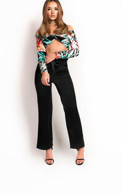 View the Olivia Knot Front Tropical Crop Top online at iKrush