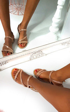 View the Onyx Diamante Embellished Strappy Sandals online at iKrush