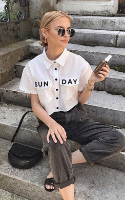 View the Opal Cropped Slogan Shirt online at iKrush