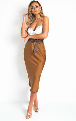 View the Opal Satin Midi Skirt online at iKrush