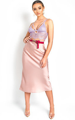 View the Opal Satin Midi Skirt online at iKrush