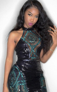 View the Opal Sequin Embellished Mesh Pannel Mini Dress online at iKrush