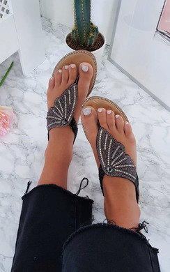 View the Orlagh Diamante Embellished Sandals online at iKrush