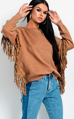 View the Paige Studded Fringed Pullover Jumper online at iKrush