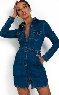 View the Paris Button Up Denim Dress online at iKrush