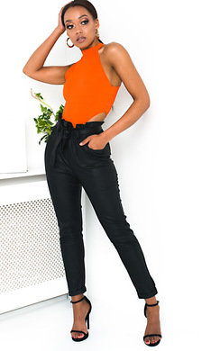 View the Parker Faux Leather Tie Waist Mom Jeans online at iKrush