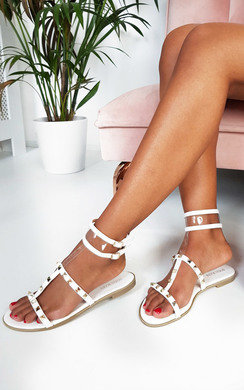 View the Paula Studded Perspex Sandals online at iKrush