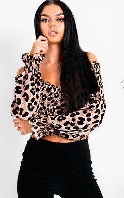 View the Penelope Bardot Long Sleeved Frill Crop Top online at iKrush
