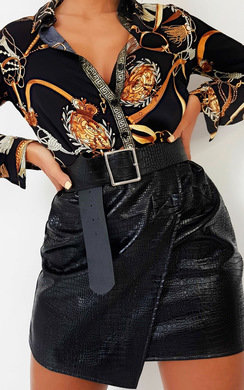 View the Penny Faux Leather Wrap Skirt online at iKrush