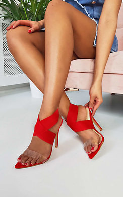 View the Penny Lycra Perspex Crossover Heels online at iKrush
