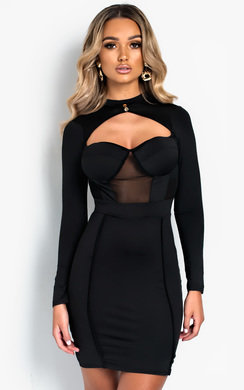 View the Perrie Long Sleeve Cut Out Bodycon Dress online at iKrush