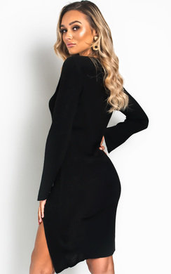 View the Perrie Side Split Ribbed Jumper Dress online at iKrush