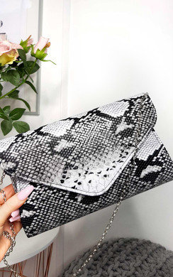 View the Perrie Snake Print Envelope Clutch Bag online at iKrush
