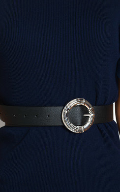 View the Petra Faux Leather Round Buckle Belt online at iKrush