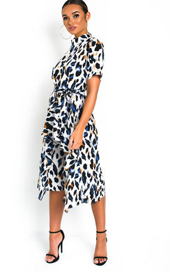 View the Petra Printed Frill Chiffon Dress online at iKrush