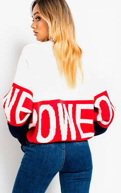 View the Petra Slogan Oversized Jumper online at iKrush