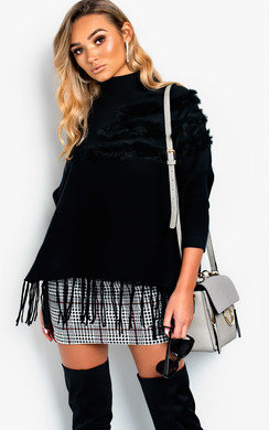 View the Phoebe Faux Fur Detailed Poncho online at iKrush