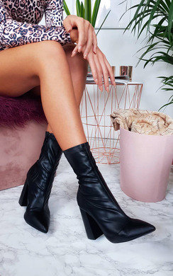 View the Pia Faux Leather Pointed Boots online at iKrush
