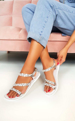 View the Pia Metallic Diamante Strappy Sandals online at iKrush