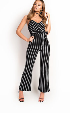 View the Pia Stripe Tie Waist Wide Leg Jumpsuit online at iKrush