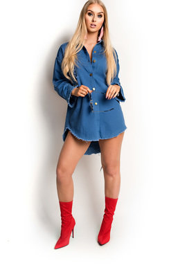 View the Pixi Graphic Denim Shirt Dress online at iKrush