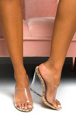 View the Pollie Perspex Wedge Mule Heels online at iKrush