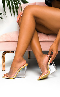 View the Pollie Perspex Wedge Mule Heels online at iKrush