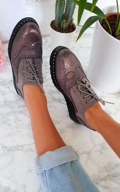 View the Polly Faux Suede Wedged Brogue Trainer  online at iKrush