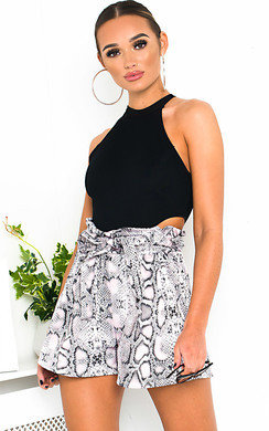 View the Polly High Waist Snake Shorts online at iKrush