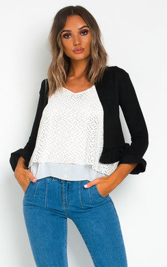 View the Poly Crop Suede Blazer online at iKrush