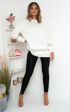 View the Poppie Faux Fur Diamante Embellished Jumper online at iKrush