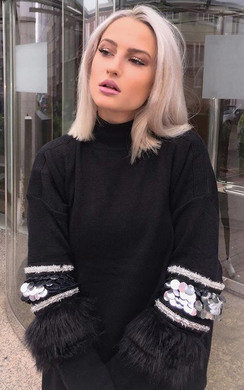 View the Poppie Faux Fur Embellished Oversized Jumper online at iKrush