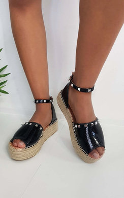 View the Poppie Studded Peep Toe Espadrille Sandal online at iKrush