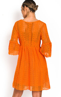 View the Poppy Crochet Bell Sleeve Dress online at iKrush