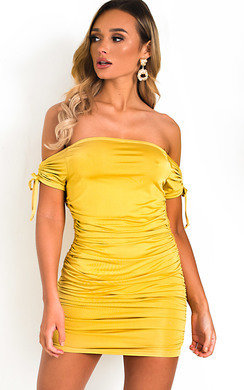 View the Posie Off Shoulder Ruched Bodycon Dress online at iKrush