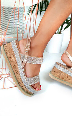 View the Rach Diamante Embellished Flatform Sandals online at iKrush