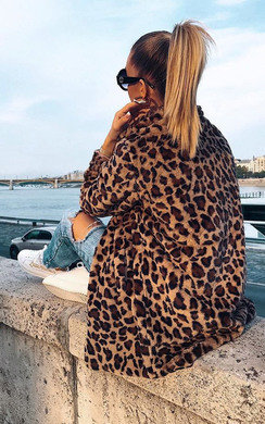 View the Rachel Leopard Print Faux Fur Coat online at iKrush