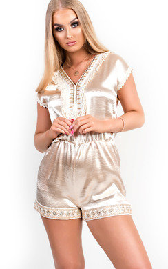 View the Raine Embellished Satin Playsuit online at iKrush