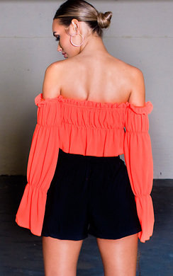 View the Raine Off Shoulder Frill Crop Top online at iKrush