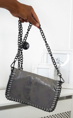 View the Randy Chain Detail Metallic Handbag online at iKrush