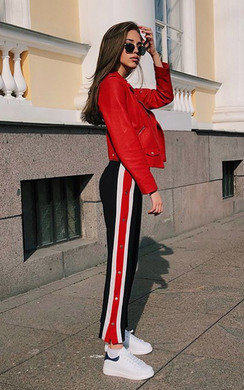 View the Razzy Popper Legged Stripe Trousers online at iKrush