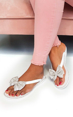 View the Regina Diamante Bow Flip Flop Sandals online at iKrush