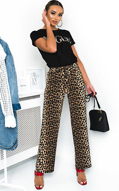 View the Ren Wide Leg Leopard Print Trousers  online at iKrush