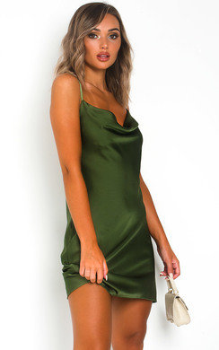 View the Renee Cowl Neck Satin Slip Dress online at iKrush