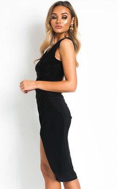 View the Rhea Slinky Side Split Midi Dress online at iKrush