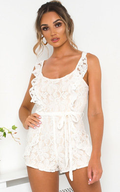 View the Rhia Crochet Flower Lace Playsuit online at iKrush