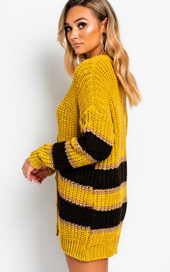 View the Rhianne Chunky Knit Striped Cardigan online at iKrush