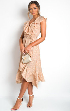 View the Rhona Polka Dot Wrap Midi Dress online at iKrush